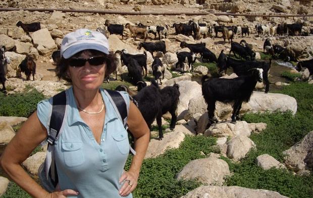 Русскоязычный гид в Израиле Галина Любан на фоне стада коз